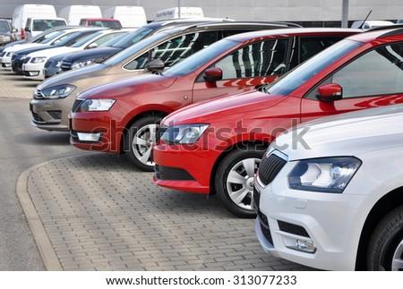 PRAGUE, THE CZECH REPUBLIC, 02.08.2015 - Brand new cars Skoda in row in fron of Car Store Skoda in Prague - stock photo