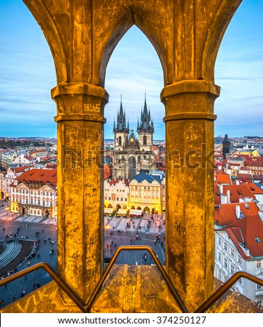 Prague, Tyn Church and Old Town Square. Czech Republic - stock photo