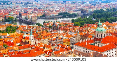 Prague, view of tile roofs of historical part of the city - stock photo