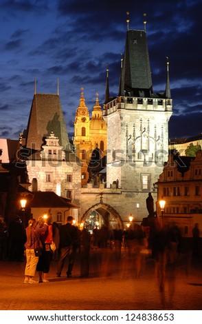 Prague with Charles Bridge Tower - stock photo