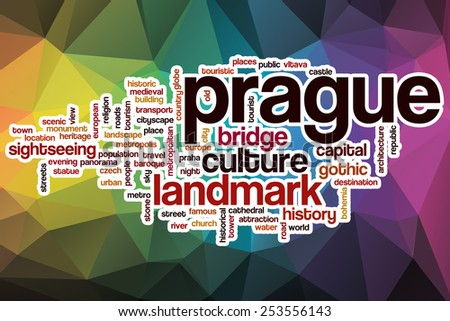 Prague word cloud concept with abstract background - stock photo