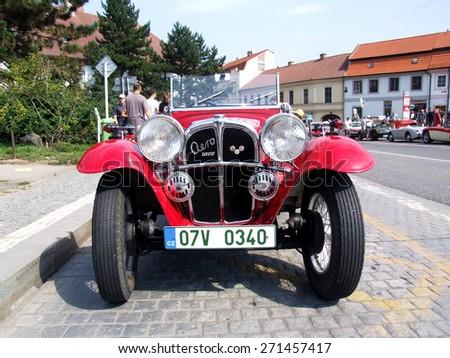 Prague - Zbraslav, Czech Republic - September 06, 2014: Aero 1000 - Very old Czech cabriolet during veteran race  - stock photo