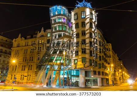 Praha, Czech Republic, August 11.2015: dancing house in Prague - stock photo