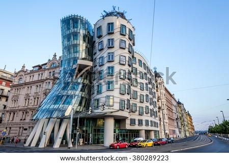 Praha, Czech Republic, August 10.2015: Dancing House in Prague - stock photo