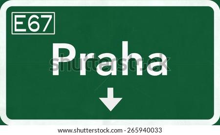 Praha Czech Republic Highway Road Sign - stock photo