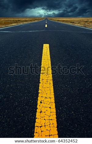 Prairie road - stock photo