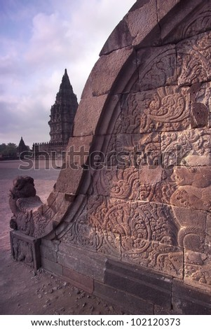Prambanan Balustrade Bas-relief, Central Java, Indonesia-Details of the stone bas-relief on the side of a temple staircase - stock photo