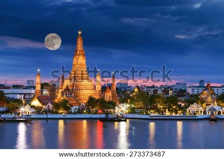Prang of Wat Arun, Bangkok ,Thailand - stock photo