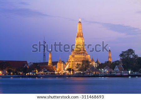 Prang of Wat Arun, Bangkok ,Thailand - stock photo