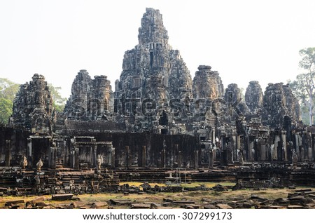 Prasat Bayon, part of Angkor Khmer temple complex, popular among tourists ancient landmark and place of worship in Southeast Asia. Siem Reap, Cambodia. - stock photo