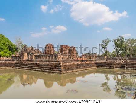 Prasat Muang Tam historical park at Buriram Province,Thailand. ( Generality in Thailand and kind of art decorated in Hindu temple pavilion,temple hall.They are public nation park. - stock photo
