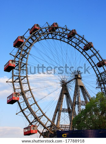 Prater, a historic ferris wheel in Vienna, Austria - stock photo