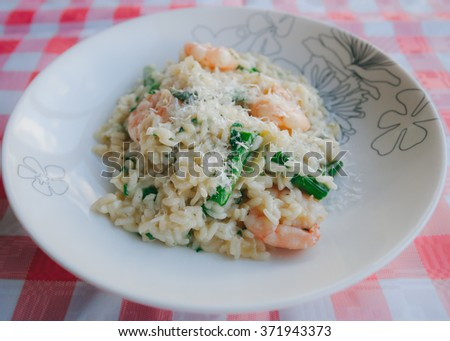 prawn and asparagus risotto - stock photo
