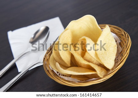 Prawn Crackers - Oriental fried prawn crisps - stock photo