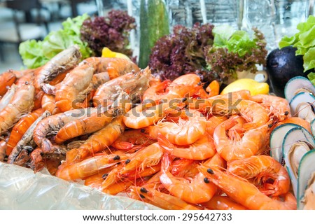 Prawn on ice, Seafood buffet line in hotel restaurant - stock photo