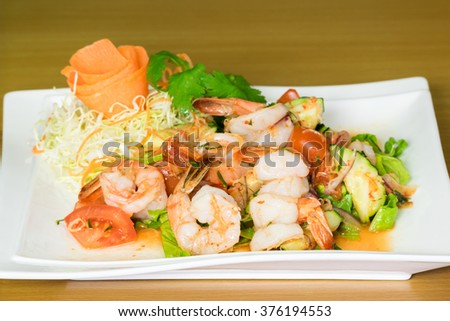 Prawn salad. Simple and healthy salad of shrimp, mixed greens vegetable - stock photo