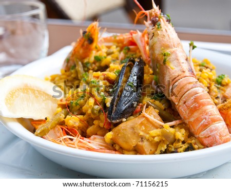 Prawn with rice - closeup of prawn with rice - stock photo