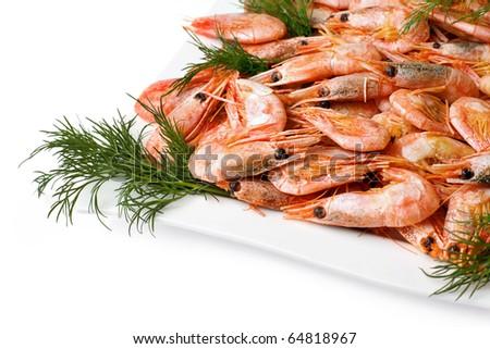 Prawns with vege Isolated on white background - stock photo