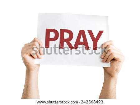Pray card isolated on white background - stock photo