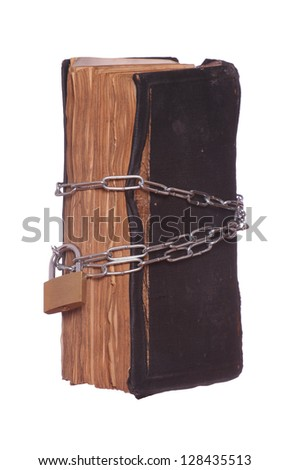 prayer book protected with padlock and chain - stock photo