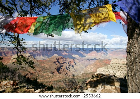 Prayer flags on the edge of Grand Canyon - stock photo