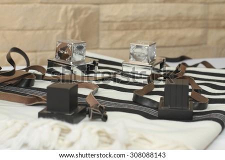Prayer Shawl - Tallit, jewish religious symbol - stock photo