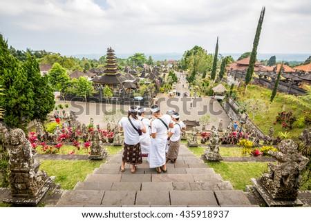 prayers at besakih temple, bali - stock photo