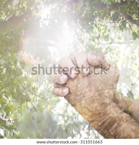 praying hands with nature background and lightening effect - stock photo