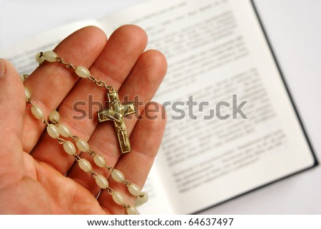 Praying to Jesus Christ with Bible, religious background - stock photo