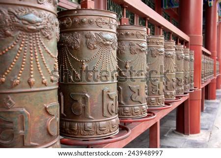 Praying wheels of Buddhist of Tibetan - stock photo