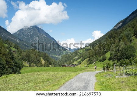 PRAZ-DE-FORT, SWITZERLAND - AUGUST 30: Ultra Trail du Mont Blanc competitors running on valley. The ultra-marathon takes on average 30 to 45 hours to complete. August 30, 2014 in Praz-de-Fort. - stock photo
