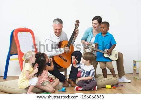 Pre School Music Lesson - stock photo