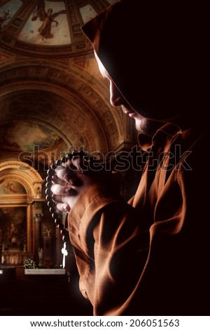 Preaching medieval monk - stock photo