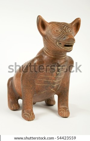 Precolumbian Clay Dog Sculpture from Mexico - stock photo