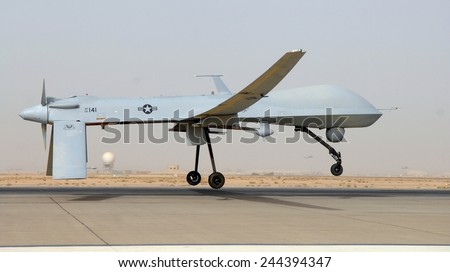 Predator drone an unmanned aircraft takes off from Balad Air Base Iraq Thursday June 12 2008. - stock photo