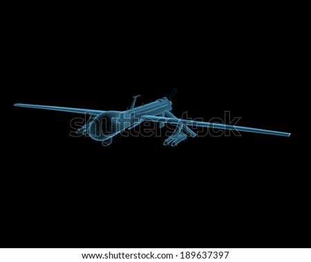 Predator drone plane uav x-ray blue transparent isolated on black - stock photo
