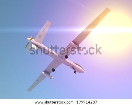 Predator Drones 3D render illustration - stock photo