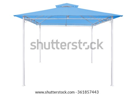 Prefabricated Tents, Blue rain tent on white background,Work with clipping path. - stock photo