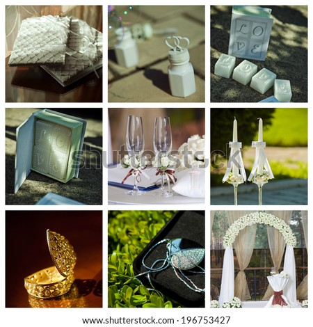 Prefect collage of wedding pictures decorations in light colour - stock photo