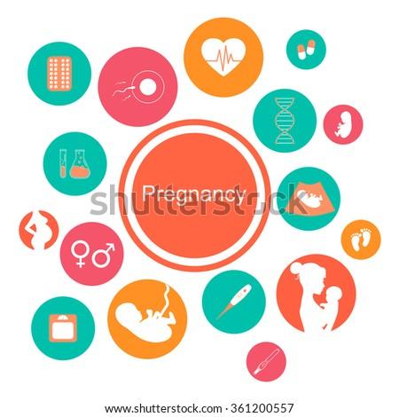 Pregnancy and newborn baby icons set. Childbirth and motherhood. Pregnancy and birth infographics. Medicine and pregnancy icons set. Baby care, mother birth illustration. - stock photo