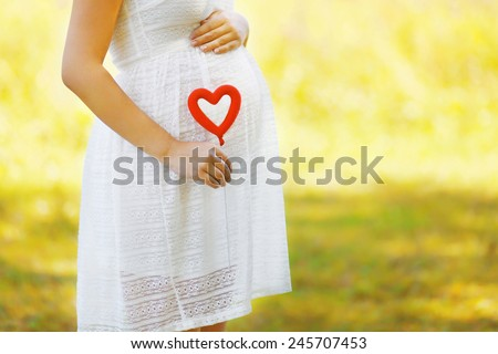 Pregnancy, maternity and new family concept - pregnant woman and heart symbol outdoors in sunny summer day - stock photo