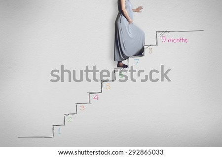 Pregnancy woman with suitcase, beginning to end, nine months, nine states pregnancy and newborn baby - stock photo