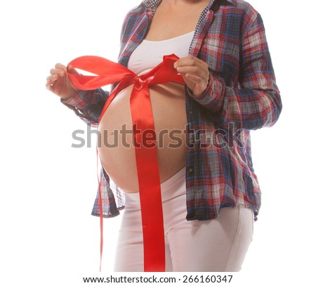 pregnant caucasian woman closeup body isolated on white background studio shot belly  - stock photo
