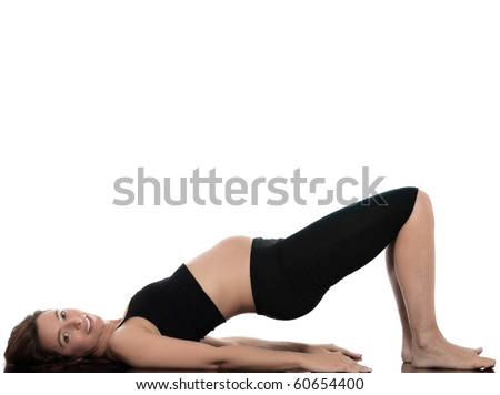 pregnant caucasian woman stretch exercise isolated studio on white background - stock photo