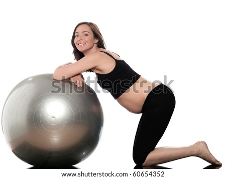 pregnant caucasian woman swiss ball fitness isolated studio on white background - stock photo