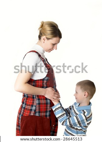Pregnant mum with the son - stock photo