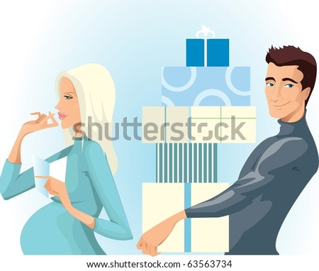 pregnant woman and her husband make a purchase - stock photo