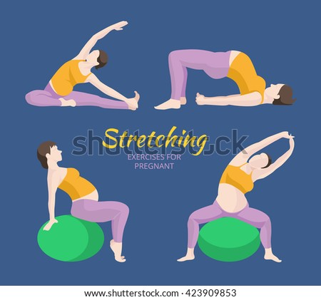 Pregnant Woman Exercise, Yoga, Planking Or Stretching Some with Exercise Balance Ball. - stock photo