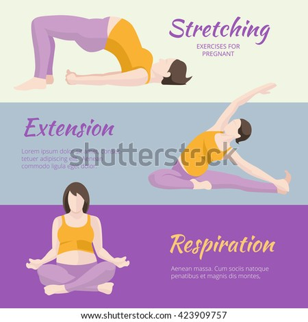 Pregnant Woman Exercises banners set. - stock photo