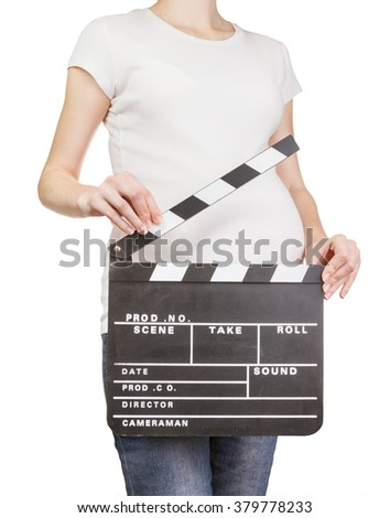 Pregnant woman holding clapperboard isolated on white - stock photo